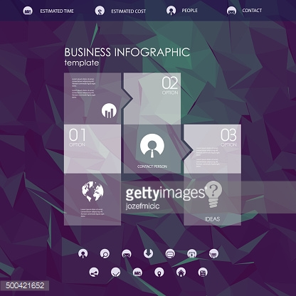 Website landing page template with set of round icons user