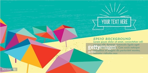 abstract summer beach illustration banner with vintage sun badge