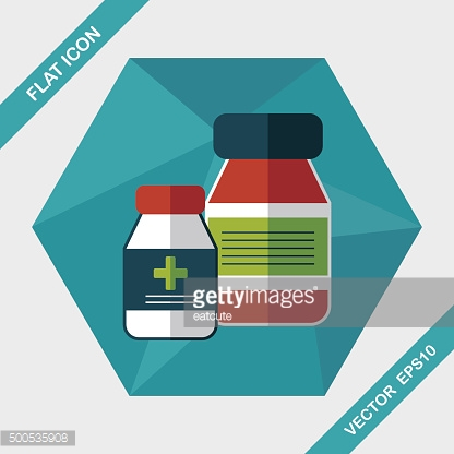 Medical Bottle flat icon with long shadow,eps10