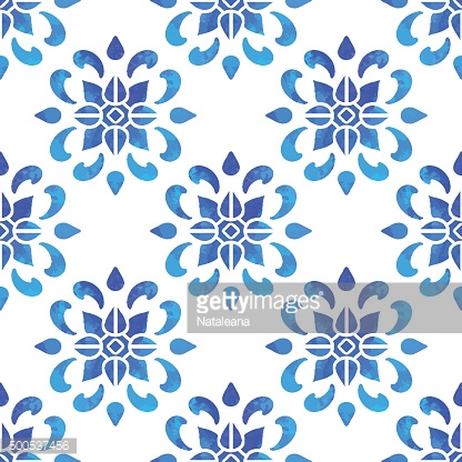 Seamless pattern with watercolor blue elements