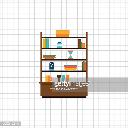 Cupboard with books and tableware