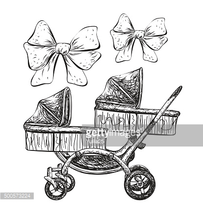 Hand drawn baby carriage