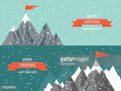 Vector illustration. Winter landscape. Mountaines with snow. Flat. Christmas, new