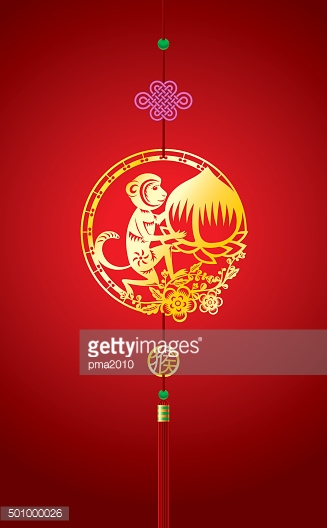 Chinese New Year background with hanging monkey decoration