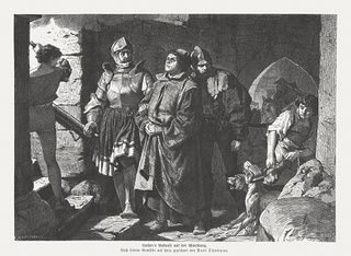 Martin Luther's arrival at the Wartburg, published in 1875
