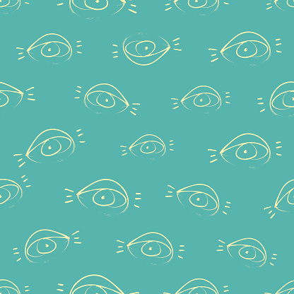 Seamless pattern design with sketchy open eyes