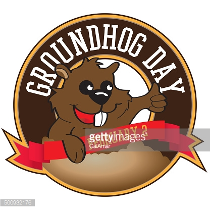 Cute groundhog popping out of a hole. Vector illustration