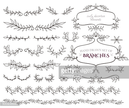 Curly frames, ornate elements and borders