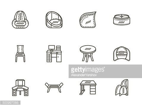 Chairs and tables flat line vector icons set