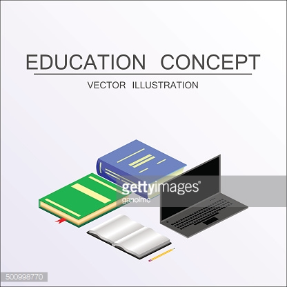 Isometric education vector concept. 3d back school background flat style