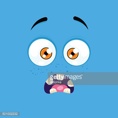 Cartoon face with a scared expression
