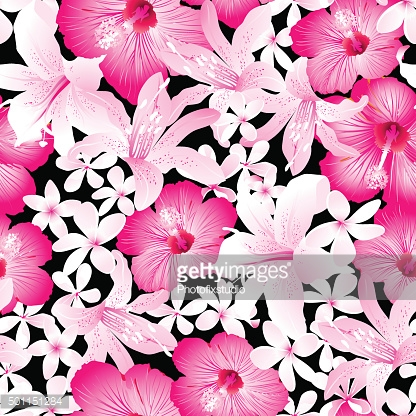Tropical pink and white flowers seamless pattern