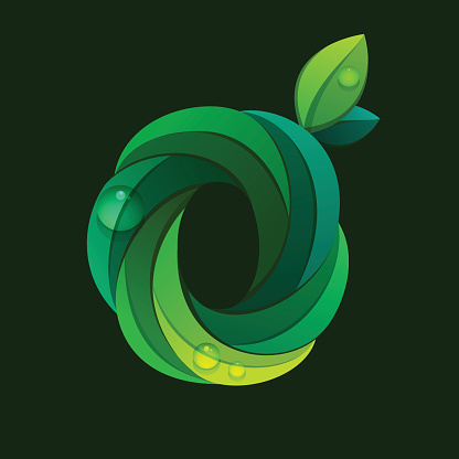 O letter icon formed by green leaves.