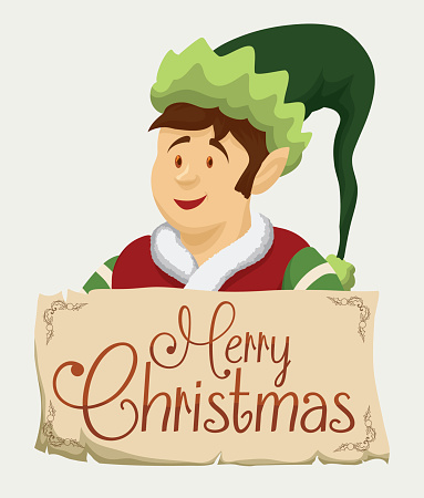 Happy Santa's Elf with Greeting Sign.