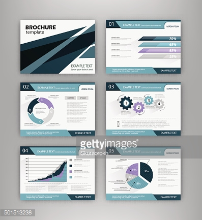 Blue brochure template with infographics element