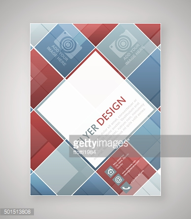 Geometric flyer template design with blue and red square elements.