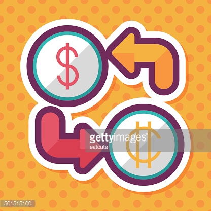 Currency exchange flat icon with long shadow