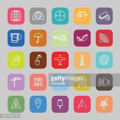 Map sign line flat icons