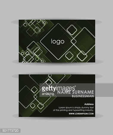 Abstract green squares - Business card vector design template.