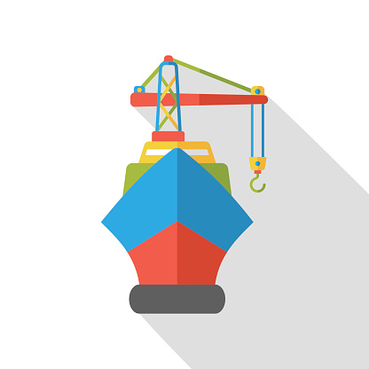 logistic ship flat icon