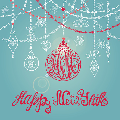 New year card with ball,garlands,lettering