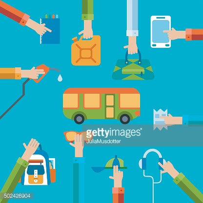 Travel illustration with hands holding bags and different objects