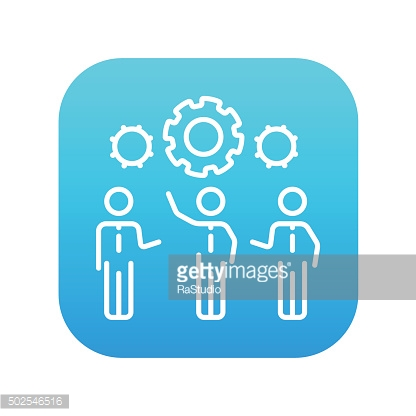 Businessmen under the gears line icon