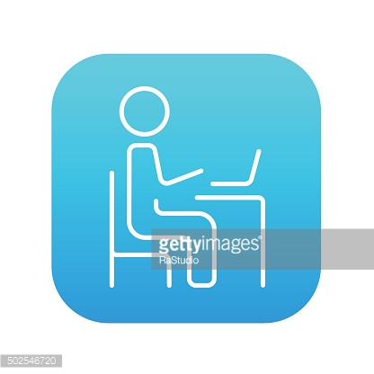 Businessman working at his laptop line icon