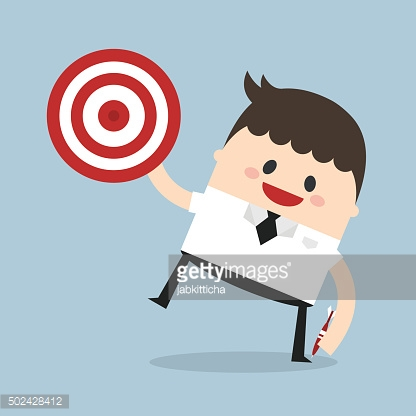 Businessman shoot target, flat design