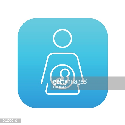 Baby fetus in mother womb line icon