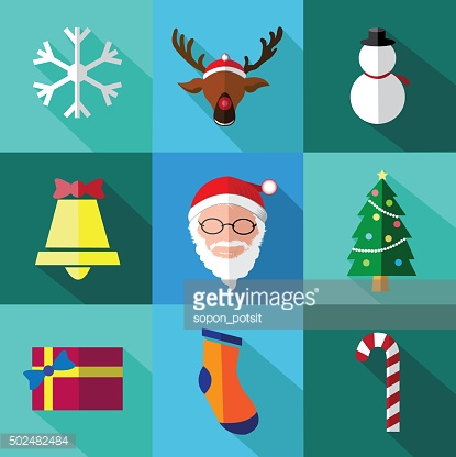 Modern flat icons set of Santa claus and Christmas Day