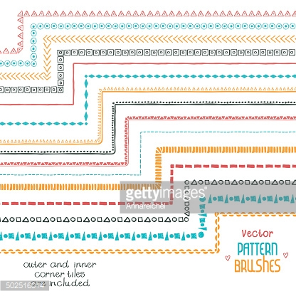 Vector Decorative Scribble Paintbrushes with Inner and Outer Cor