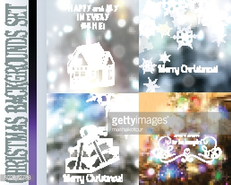 Set of vector Christmas blurred backgrounds with lights snowflak