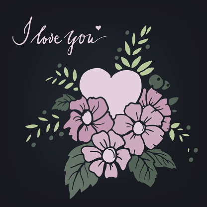 Hand drawn vector design element with heart, flowers, leaves and