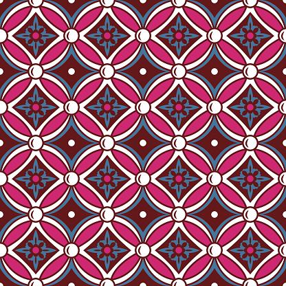 Seamless background image of vintage round cross flower pattern.