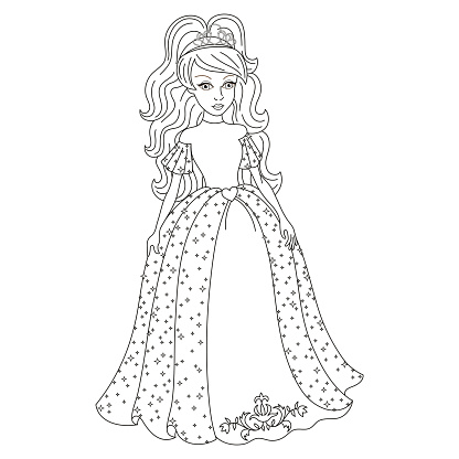 Gentle princess in shining dress with spangles, coloring book
