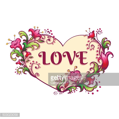 Happy valentine day. Heart with flowers and love title. Vector