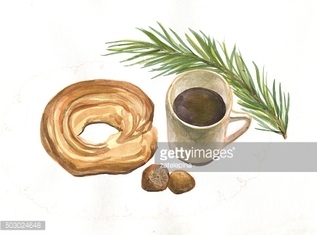 Still life. A Cup of coffee, bagel. Watercolor painting
