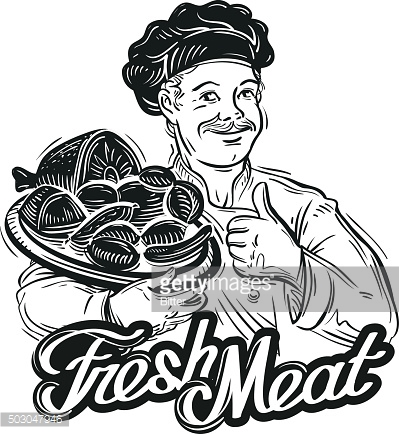 hand-drawn chef with a tray of fresh meat isolated
