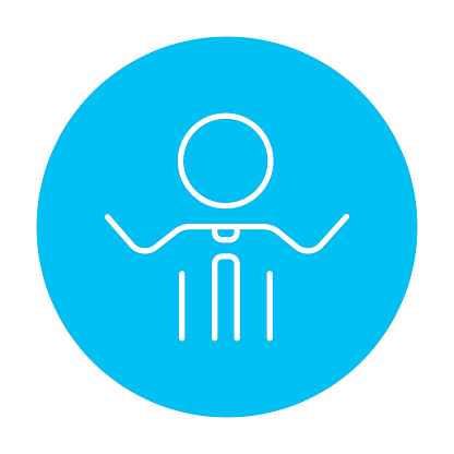 Man with raised arms line icon