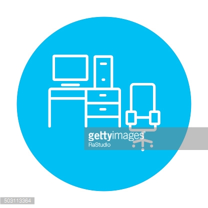 Computer set with table and chair line icon