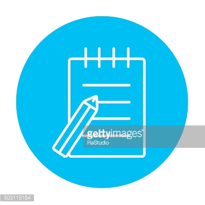 Writing pad and pen line icon