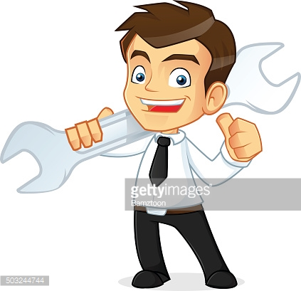 Businessman holding a wrench