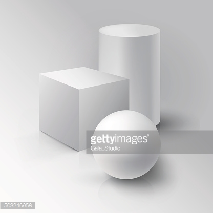 Realistic 3D White Ball, Cube and Cylinder. Ball