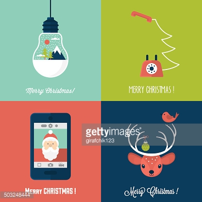 Modern Christmas card flat  stylish design. Set of Christmas cards