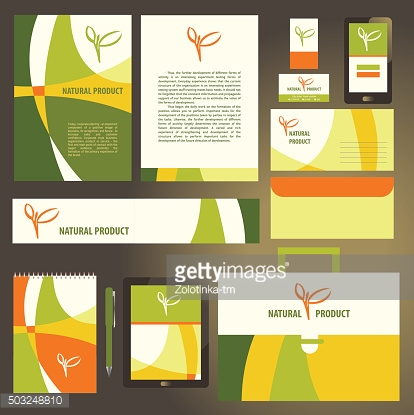 Corporate identity template set. Natural  product vegan. Busines
