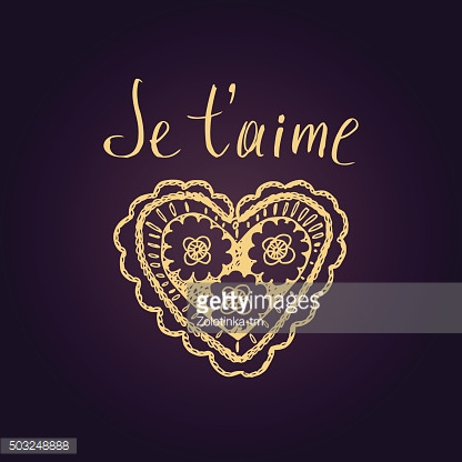 Declaration of love in French. Openwork heart, drawn by hand.