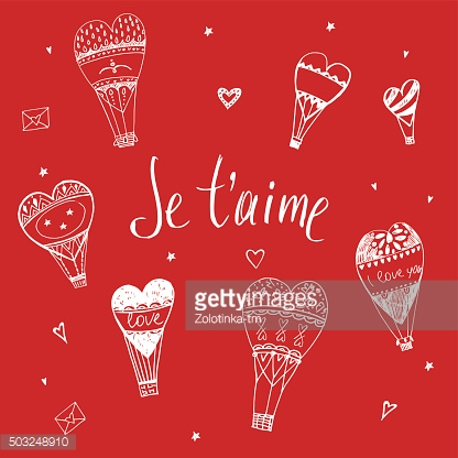 Valentine Day. I love you. Vector typography. Balloons in the