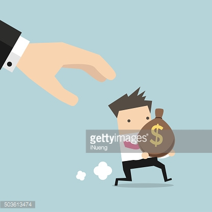 Cartoon hand tries to grab the bag of money