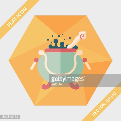 Witch's pot flat icon with long shadow,eps10